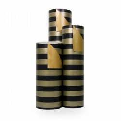 Inpakpapier - Strepen - Zwart op goud (Nr. 3106) - Rollen