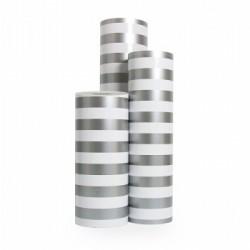 Inpakpapier - Strepen - Zilver op wit (Nr. 3230) - Rollen