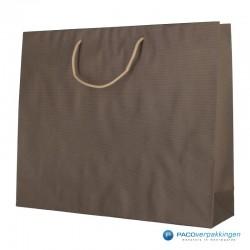 Papieren draagtassen - Paco Nature Nr. 54 - Bruin Beige - Zijaanzicht voor