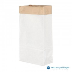 Blokbodemzakken papier - Wit/Bruin - Zijaanzicht open