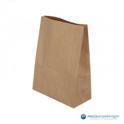 Blokbodemzakken papier - Bruin - Zijaanzicht