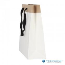 Papieren draagtassen - Wit / Kraftbruin - Recycle - Zijaanzicht