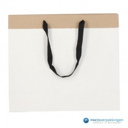 Papieren draagtassen - Wit / Kraftbruin - Recycle - Vooraanzicht