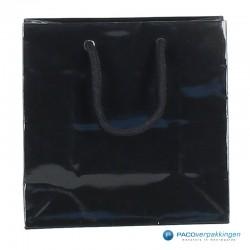 Papieren draagtassen - Zwart Glans - Luxe - Katoenen koord - Vooraanzicht