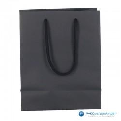 Papieren draagtassen - Zwart Mat - Luxe - Katoenen koord - Achteranzicht