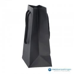Papieren draagtassen - Zwart Mat - Luxe - Katoenen koord - Zijaanzicht