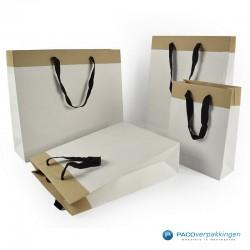 Papieren draagtassen - Wit / Kraftbruin - Recycle - Collectie