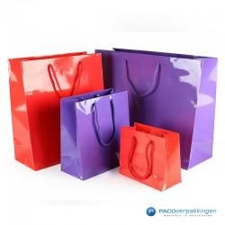 Papieren draagtassen - Paars Glans - Luxe - Katoenen koord - Collectie