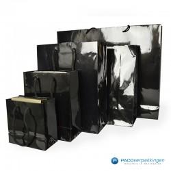 Papieren draagtassen - Zwart Glans - Luxe - Katoenen koord - Collectie