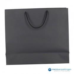 Papieren draagtassen - Zwart Mat - Luxe - Katoenen koord - Achteraanzicht