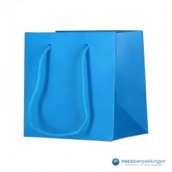 Papieren draagtassen - Fluor Blauw - Luxe - Katoenen koord - Zijaanzicht voor