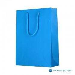 Papieren draagtassen - Fluor Blauw - Luxe - Katoenen koord - Zijkant Vooraanzicht