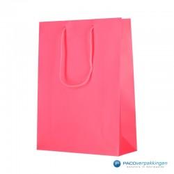 Papieren draagtassen - Fluor Roze - Luxe - Katoenen koord -  Zijkant Vooraanzicht
