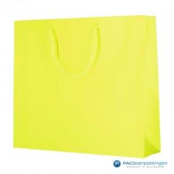 Papieren draagtassen - Fluor Geel - Luxe - Katoenen koord - Zijkant Vooraanzicht