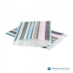 Papieren zakjes - Strepen gekleurd - Nr.924 - Vooraanzicht