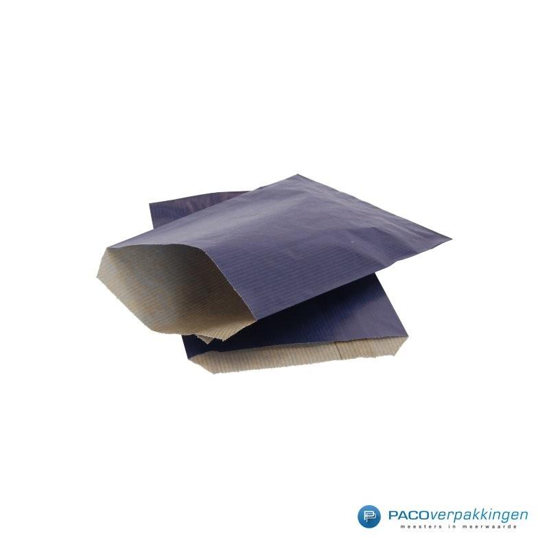 Papieren zakjes - Blauw Kraft - Budget - Zijaanzicht