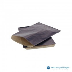 Papieren zakjes - Donkerblauw Kraft - Budget - Zijaanzicht