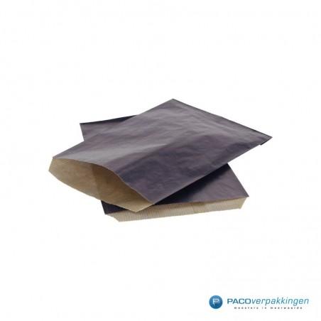 Papieren zakjes - Donkerblauw kraft met bruin - Budget