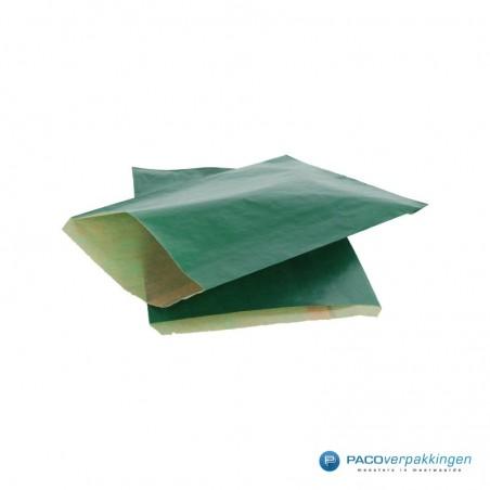 Papieren zakjes - Groen kraft met bruin - Budget