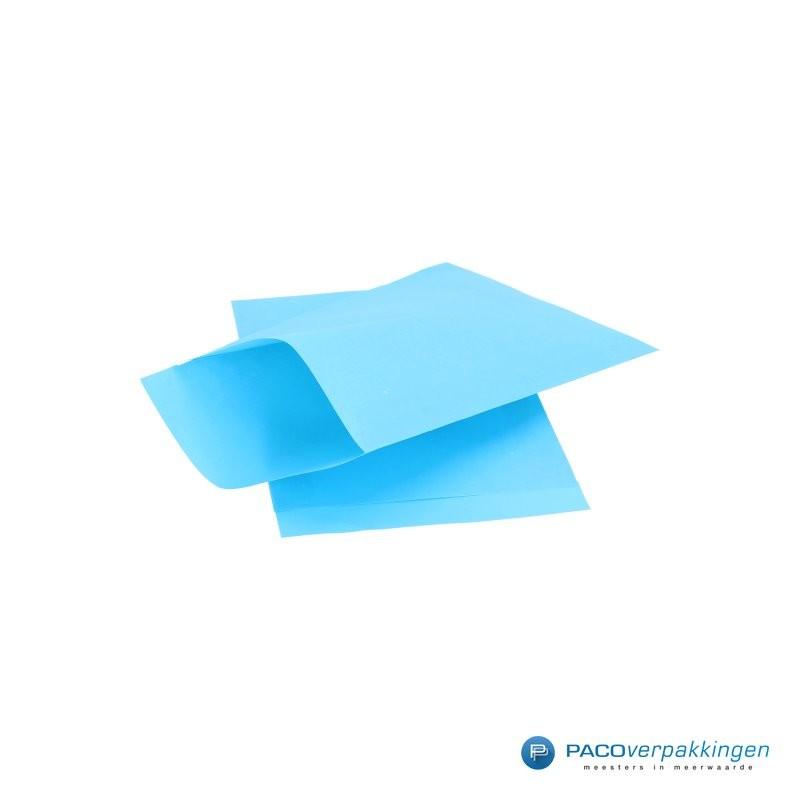 Papieren zakjes - Aquablauw Kraft - Zijaanzicht