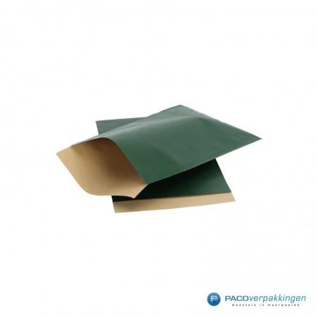 Papieren zakjes - Groen met bruin kraft (Nr. 1504)