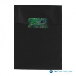 Cadeau stickers - Pauw - Groen en blauw glans - Toepassingsfoto