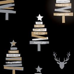 Inpakpapier Feestdagen - Kerstboom en rendier (Vanessa) - Wit, goud en zilver op zwart (Nr. 950130) - Close-up