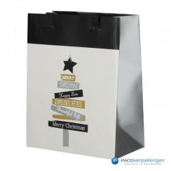 Papieren draagtassen - Wit - Kerstboom (Vanessa) - Luxe - Voorkant Zijaanzicht