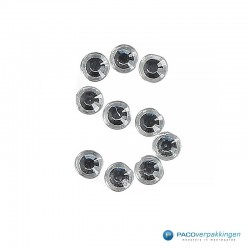 Diamant Sticker 'S' - Zilver- Close-up