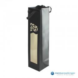 Wijntassen - Zwart mat met venster - Luxe - Zijaanzicht