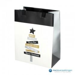 Papieren draagtassen - Wit - Kerstboom (Vanessa) - Luxe - Zijaanzicht voor