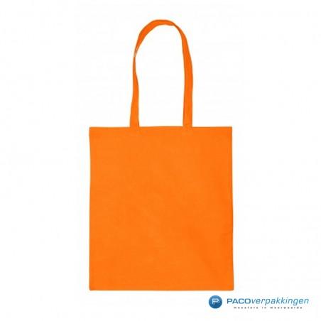 Katoenen draagtassen - Oranje - Lange hengsels