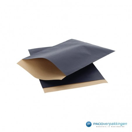Papieren zakjes - Donkerblauw met bruin kraft (Nr. 1508)