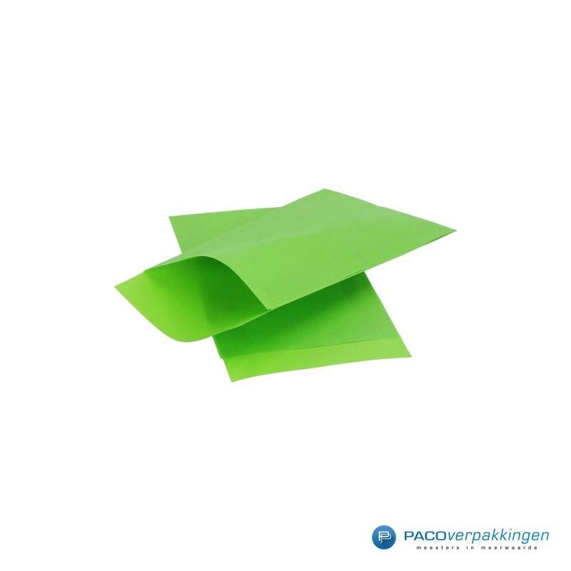 Papieren zakjes - Appelgroen Kraft - Zijaanzicht