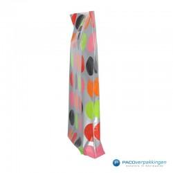 Plastic draagtassen - Bolletjesdessin - Zijkant