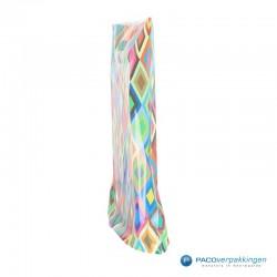 Plastic draagtassen - Ruitdessin - Zijkant Vooraanzicht
