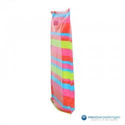 Plastic draagtassen - Streepdessin -  Zijkant Vooraanzicht