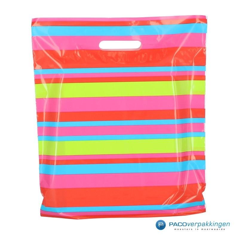 Plastic draagtassen - Streepdessin - Vooraanzicht