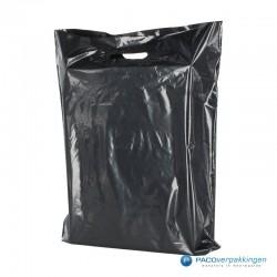 Plastic draagtassen - Zwart - Zijkant achteraanzicht