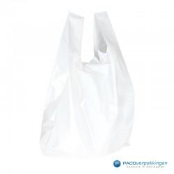 Plastic draagtassen - Wit - Zijaanzicht