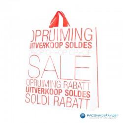 Plastic draagtassen - Sale - Wit - Zijaanzicht voor