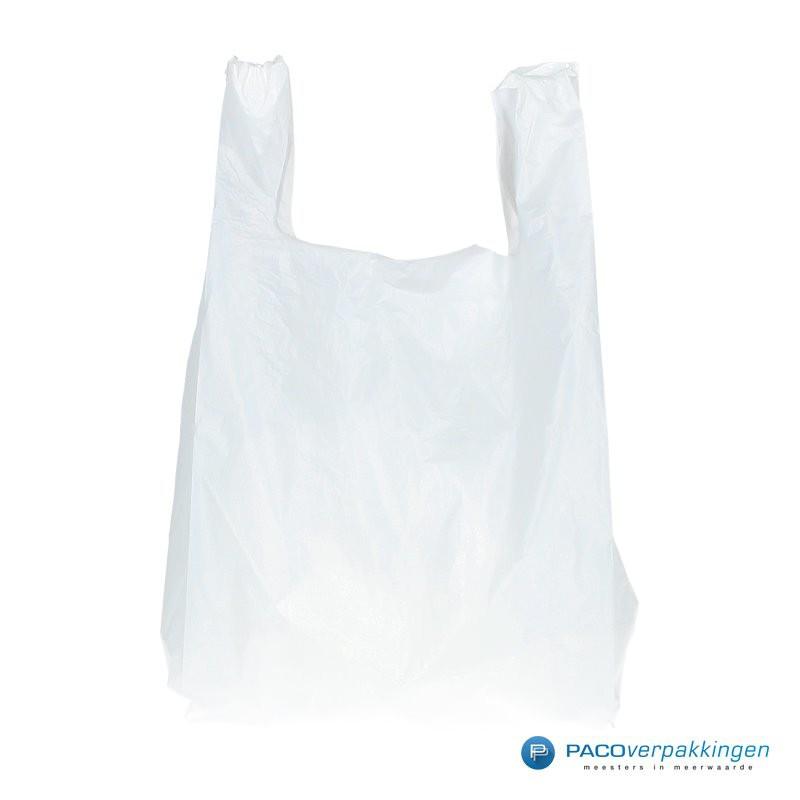 Plastic draagtassen - Wit - Shopper - Vooraanzicht