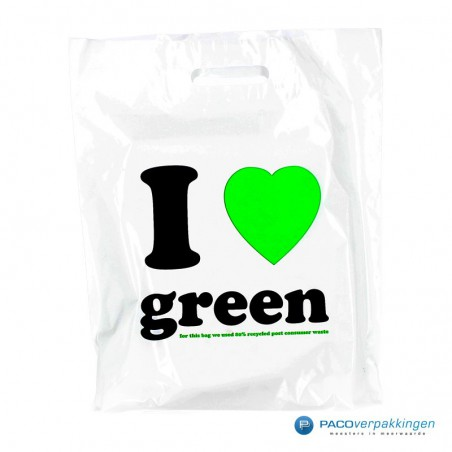Plastic draagtassen - I LOVE GREEN - Wit
