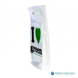 Plastic draagtassen - I LOVE GREEN - Wit - Zijkant Vooraanzicht