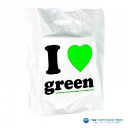 Plastic draagtassen - I LOVE GREEN - Wit - Zijkant achteraanzicht