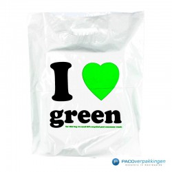 Plastic draagtassen - I LOVE GREEN - Wit -  Achteraanzicht