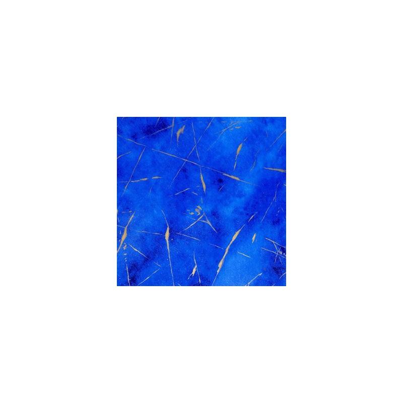Inpakpapier - Krullen - Goud op blauw (Nr. 3007) - Close-up