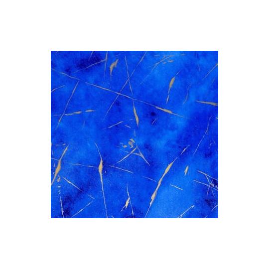 Inpakpapier - Krullen - Goud op blauw (Nr. 3007) - Outlet