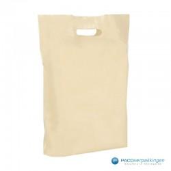 Plastic draagtassen - Recycle - Beige - 40 MU -  Zijaanzicht Vooraanzicht