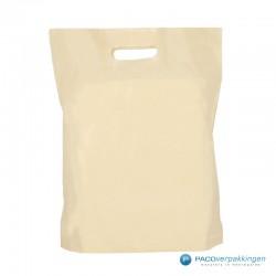 Plastic draagtassen - Recycle - Beige - 40 MU - Achteraanzicht